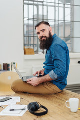 Friendly hipster modern businessman