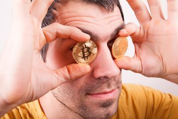 Man with bitcoin monet