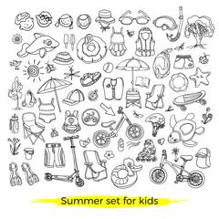Doodle set of sport, swim goods for kids