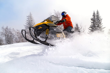 Photo sur cadre textile Glisse hiver Athlete on a snowmobile