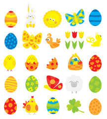 Easter elements collection with easter eggs, basket, cute bunny, tulip, chick,sun / vectors set for children