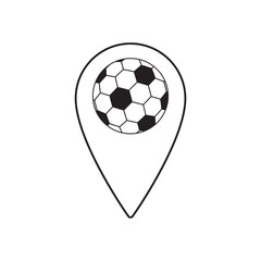 soccer map pin sport thin line flat design icon vector illustration. Editable stroke