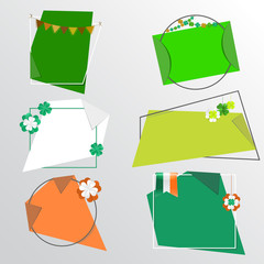Set of trendy St Patrick's Day сolorful vector banners with festive shamrock garlands, hanging clovers and irish flag. Paper stickers with curved corners on different geometric shapes.
