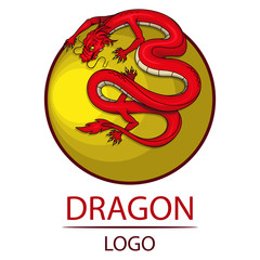 Dragon. Symbol of China. Traditional chinese Red Dragon. Chinese dragon logo.(Chinese Translation:Dragon)
