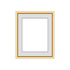 Golden picture or photo frame isolated on grey background. Vector illustration