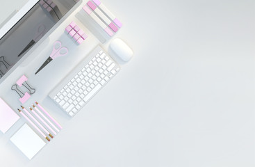 Modern workspace with computer, stationery set on white color background. Top view. Flat lay. 3D illustration