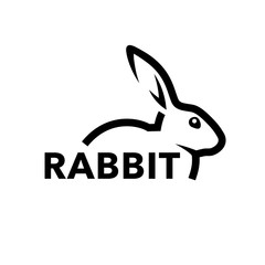 Farm rabbit logo concept with profile of black bunny line icon isolated on white background. Vector illustration.