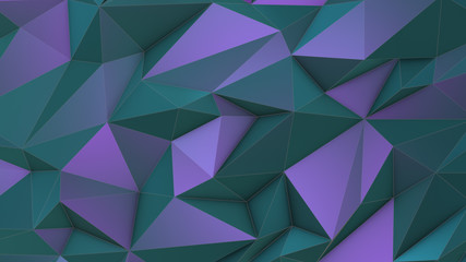 Turquoise-violet beauty low poly triangle background