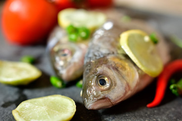 Raw fish on table for cooking