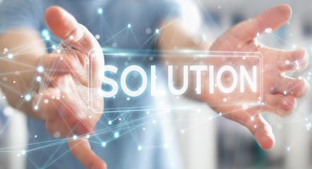 Businessman using solution digital text 3D rendering