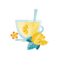 Vitamin healthy herbal tea, drink with lemon and mint in glass cup vector Illustration on a white background