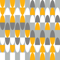 Ovals and geometric shapes vector seamless pattern. Modern abstract background with ovals in retro colors.