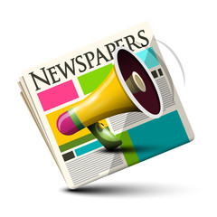 Dialy Paper Newspapers Icon with Megaphone