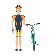 Cyclist Standing by Bicycle Vector Illustration