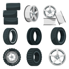 Icon set of different disks for wheels and tires. Vector pictures set in cartoon style