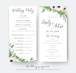 Wedding ceremony and party program card elegant design with watercolor style light pink mauve anemone flowers, eucalyptus green leaves, white lilac flowers, greenery decoration. Romantic templates set