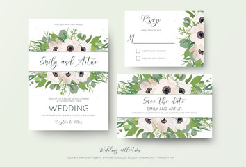 Wedding invite, invitation, save the date, rsvp thank you card design. Green watercolor style light pink anemone flowers, eucalyptus leaves, white lilac flowers, greenery decoration. Romantic cute set
