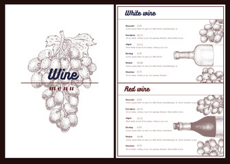 Vector wine menu template. Can be use as menu, wine card design. Retro hand drawn illustration