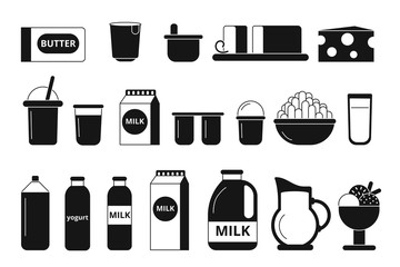 Silhouette and monochrome pictures of dairy milk products