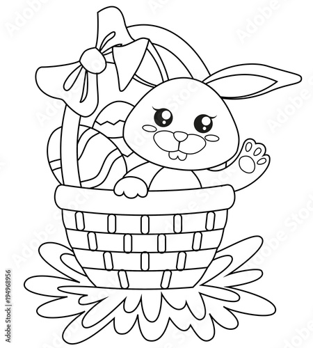 Happy Easter. Cute bunny sitting in basket with eggs. Black and ...