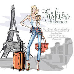 Wall Mural - Street style girl wearing denim with travel bags posing near Eiffel tower in Paris, weekend travel vacation in Europe vector illustration