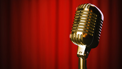 vintage gold retro vocal microphone on red curtain background 3d illustration