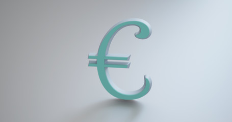 Metallic Euro currency symbol on the floor with shadow projected in front.