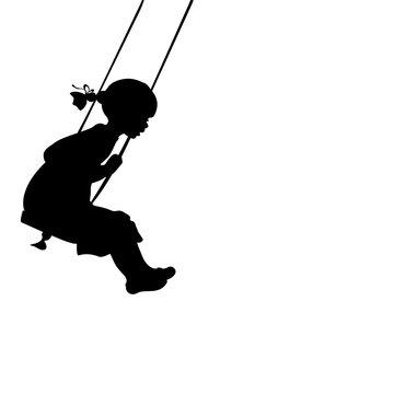 Silhouette girl play swinging swing