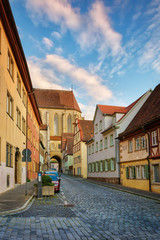 .A warm summer evening in the old German town of Rothenburg ob der Tauber. Bavaria. Germany.