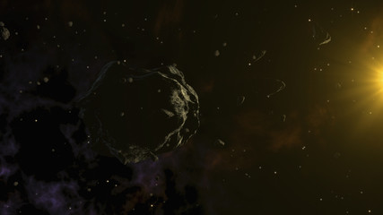 Large asteroid surrounded by smaller ones. Deep space, Cosmic Art and Science Fiction Concept.
