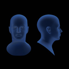 blue sculpture man head with dramatic light schemes on face isolated on black background - 3d illustration
