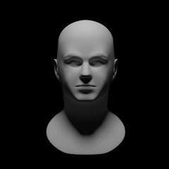 white sculpture man head with dramatic light schemes on face isolated on black background - 3d illustration