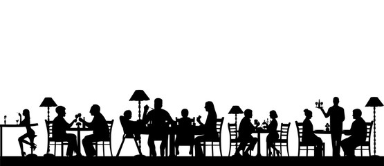 Silhouette of people eating in a restaurant with all figures as separate objects layered, one in the series of similar images