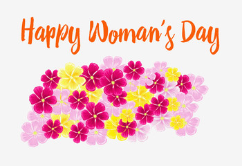 Happy Woman's day. Bouquet of pink flowers