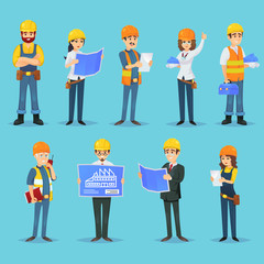 Set of icons for various male and female builders and designers with blueprints.