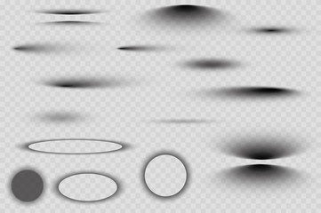 Vector shadows isolated. Set of round and square shadow effects. Wall mural
