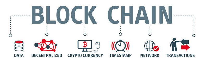 Banner Blockchain concept with keywords and vector icons