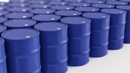 Blue Oil barrels with dept of field on white  3d illustration