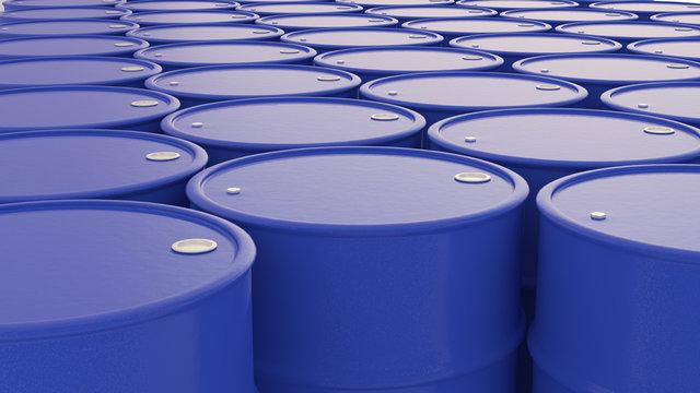 Blue Oil barrels background composition 3d illustration