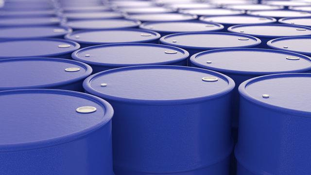 blue Cans of Oil barrels  composition  3d illustration