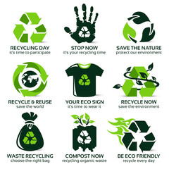 flat icon set for eco friendly recycling, the drop shadow contains transparencies, eps10