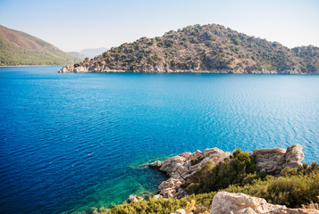 View of islands in Mediterranean Sea. Marmaris. Turkey