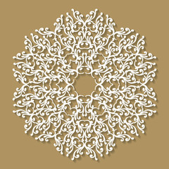 Handmade lace doily. Beautiful elegant vintage knitted lacy napkin. Wedding table decoration or invitation concept. Round lace pattern. Decorative element, EPS 8.