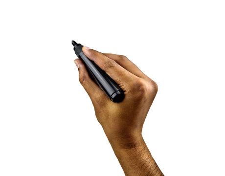 Man using an black pen