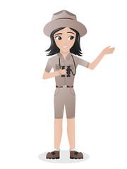 Female Zookeeper / Zoologist Holding Binocular Female Zookeeper / Zoologist  Holding Binocular