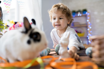 Portrait of cute little boy playing with Bunny at home on Easter, copy space