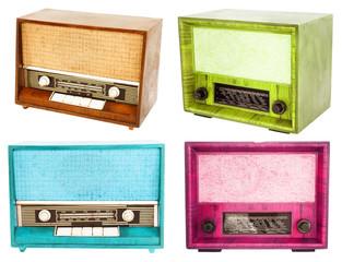 retro radio collection isolated on white background
