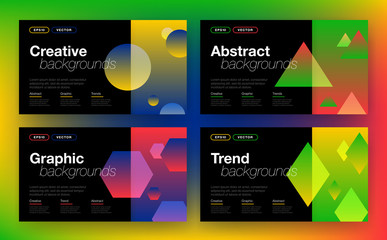 Geometric background with abstract shapes on black background in trendy style. For cover template design or mockup brochure