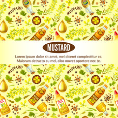 Poster of mustard, flower, seeds and oils. Vector illustration.