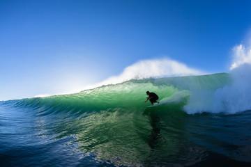Surfing Surfer Tube Ride Ocean Wave Water Photo